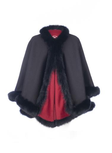 Silk and Cashmere Pelerin Kırmızı